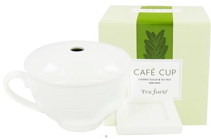 DROPPED: Tea Forte - Cafe Cup Covered Teacup & Tea Tray Bone White - CLEARANCE PRICED