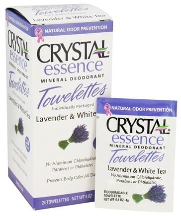 Crystal Body Deodorant - Crystal Essence Mineral Deodorant Towelettes Lavender & White Tea - 24 Towelette(s)