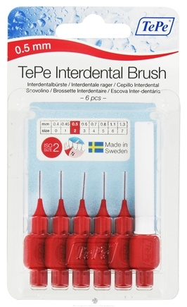 DROPPED: TePe Oral Health Care - TePe Angle Interdental Brush .5 mm ISO Size 2 Red - 6 Pack