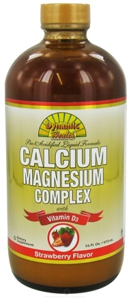 DROPPED: Dynamic Health - Calcium Magnesium Complex with Vitamin D3 Strawberry Flavor - 16 oz. CLEARANCE PRICED