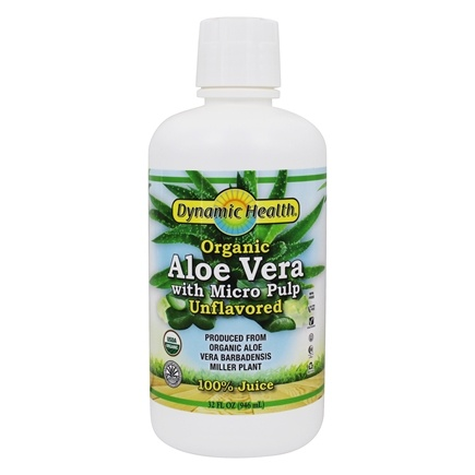 Dynamic Health - Organic Aloe Vera Juice with Micro Pulp Unflavored - 32 oz.