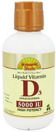 DROPPED: Dynamic Health - Liquid Vitamin D3 Cholecalciferol Cherry Flavor 5000 IU - 16 oz. CLEARANCE PRICED