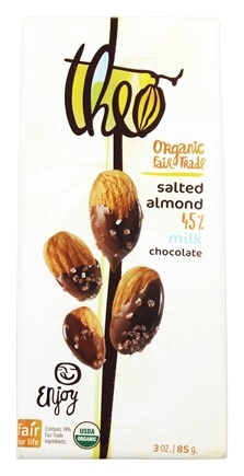 Theo Chocolate - Classic Collection Organic Milk Chocolate 45% Cacao Salted Almond - 3 oz.