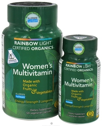 DROPPED: Rainbow Light - Certified Organics Women's Multivitamin Bundle Pack - 120 Vegetarian Capsules + 12 Vegetarian Capsules
