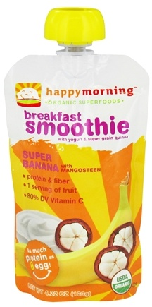 DROPPED: HappyFamily - HappyMorning Organic Superfruit + Supergrain Breakfast Smoothie Super Banana - 4.22 oz.