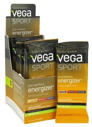 Vega - Vega Sport Natural Plant Based Pre-Workout Energizer Lemon Lime - 0.6 oz.