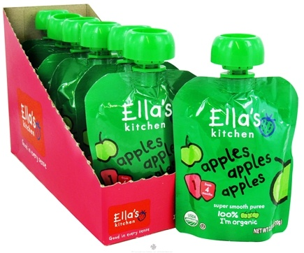 DROPPED: Ella's Kitchen - Organic Baby Super Smooth Puree Stage 1 for 4 months & Older Apples, Apples, Apples - 2.5 oz. CLEARANCE PRICED