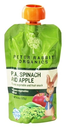 Peter Rabbit Organics - Veg and Fruit Puree 100% Pea, Spinach and Apple - 4.4 oz.