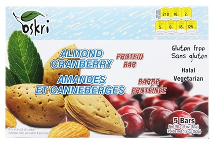 DROPPED: Oskri - Protein Bar Gluten-Free Almond and Cranberry - 5 Bars
