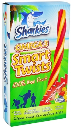 DROPPED: Sharkies - Kids Omega 3 Smart Twists 100% Real Fruit Tropical Wave 5 x .7 oz. Twists 200 mg. - 3.5 oz.