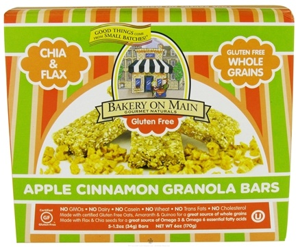 DROPPED: Bakery On Main - Granola Bars Gluten Free Soft & Chewy Apple Cinnamon 5 x 1.2 oz. Bars - 6 oz. CLEARANCE PRICED