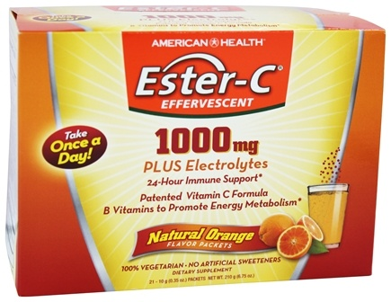 American Health - Ester-C Effervescent Natural Orange 1000 mg. - 21 Packet(s)