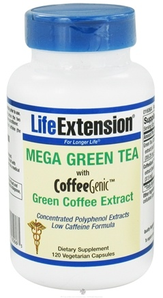 DROPPED: Life Extension - Mega Green Tea With Coffee Genic Green Coffee Extract - 120 Vegetarian Capsules
