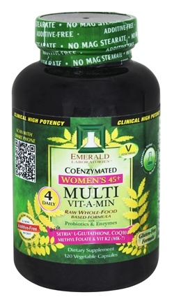 Emerald Labs - CoEnzymated Women's 45+ Multi Vit-A-Min Raw Whole-Food Based Formula - 120 Vegetarian Capsules