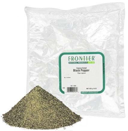 DROPPED: Frontier Natural Products - Black Pepper Coarse Grind - 1 lb. CLEARANCE PRICED