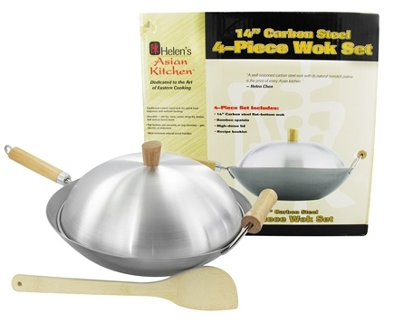 DROPPED: Helen's Asian Kitchen - Carbon Steel 4-Piece Wok Set - 14 in. CLEARANCE PRICED