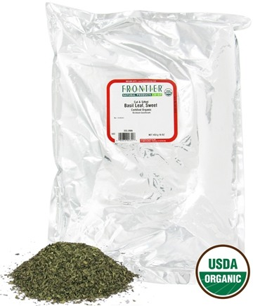 DROPPED: Frontier Natural Products - Basil Leaf Sweet Cut & Sifted Organic - 1 lb. CLEARANCE PRICED