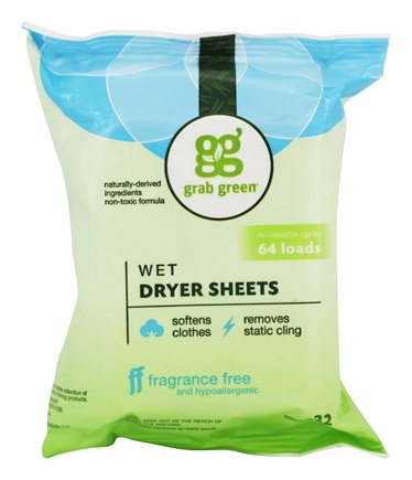Grab Green - Wet Dryer Sheets Fabric Softener Fragrance Free - 32 Sheet(s)