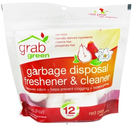 DROPPED: GrabGreen - Garbage Disposal Freshener & Cleaner 12 Pods Red Pear with Magnolia - 5.9 oz. CLEARANCE PRICED