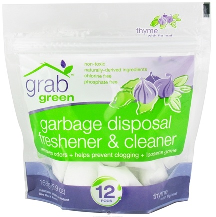 DROPPED: GrabGreen - Garbage Disposal Freshener & Cleaner 12 Pods Thyme with Fig Leaf - 5.9 oz. CLEARANCE PRICED