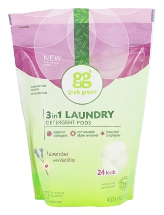 Grab Green - 3-in-1 Laundry Detergent Pods 24 Loads Lavender with Vanilla - 15.2 oz.