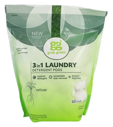 Grab Green - 3-in-1 Laundry Detergent Pods 60 Loads Vetiver - 38 oz.