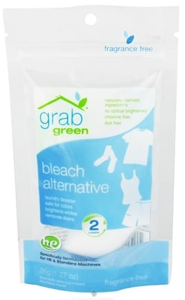 DROPPED: GrabGreen - Bleach Alternative 2 Loads Mini Pouch Fragrance Free - 1.27 oz. CLEARANCE PRICED