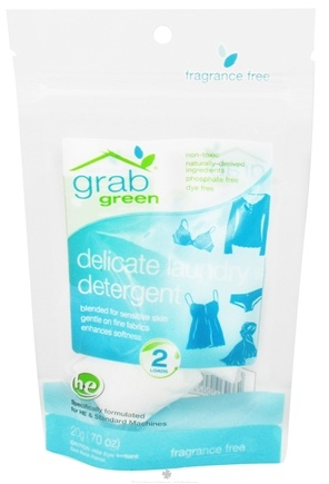 DROPPED: GrabGreen - Delicate Laundry Detergent 2 Loads Mini Pouch Fragrance Free - 0.7 oz. CLEARANCE PRICED