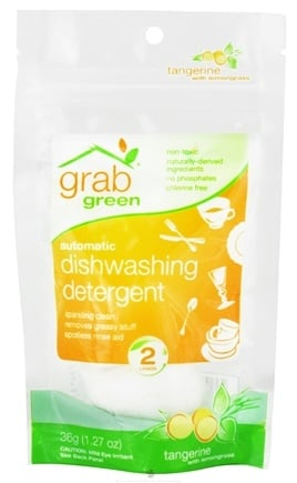 DROPPED: GrabGreen - Automatic Dishwashing Detergent 2 Loads Mini Pouch Tangerine with Lemongrass - 1.27 oz. CLEARANCE PRICED