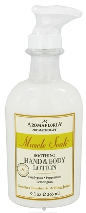 DROPPED: AromaFloria - Muscle Soak Soothing Hand & Body Lotion Aromatherapy Eucalyptus Peppermint Lemongrass - 9 oz.