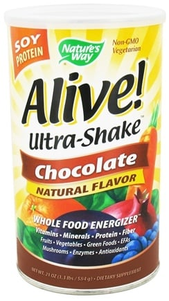 DROPPED: Nature's Way - Alive Soy Protein Ultra-Shake Whole Food Energizer Chocolate - 21 oz. CLEARANCE PRICED
