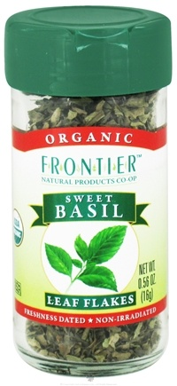 DROPPED: Frontier Natural Products - Basil Leaf Sweet Flakes Organic - 0.56 oz. CLEARANCE PRICED