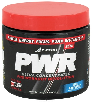 DROPPED: iSatori - PWR Ultra-Concentrated Pre-Workout Revolution Blue Raspberry - 144 Grams CLEARANCE PRICED