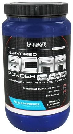 DROPPED: Ultimate Nutrition - Platinum Series Flavored BCAA Powder 12,000 Branched Amino Acid Formula Blue Raspberry 60 Servings - 457 Grams CLEARANCE PRICED