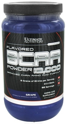 DROPPED: Ultimate Nutrition - Platinum Series Flavored BCAA Powder 12,000 Branched Amino Acid Formula Grape 60 Servings - 457 Grams