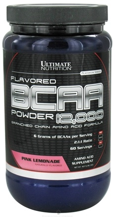 DROPPED: Ultimate Nutrition - Platinum Series Flavored BCAA Powder 12,000 Branched Amino Acid Formula Pink Lemonade 60 Serving - 457 Grams CLEARANCE PRICED