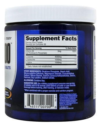 BCAA 6000 Branched Chain Amino Acid - 180 Tablets by Gaspari Nutrition