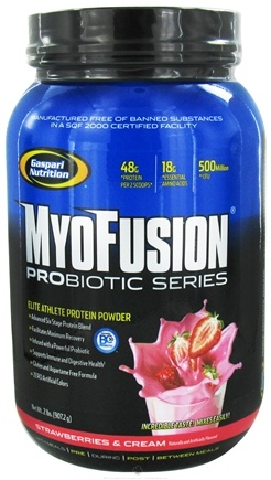 DROPPED: Gaspari Nutrition - MyoFusion Probiotic Series Protein Strawberries & Cream - 2 lbs.