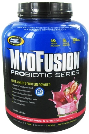 DROPPED: Gaspari Nutrition - MyoFusion Probiotic Series Protein Strawberries & Cream - 5 lbs.