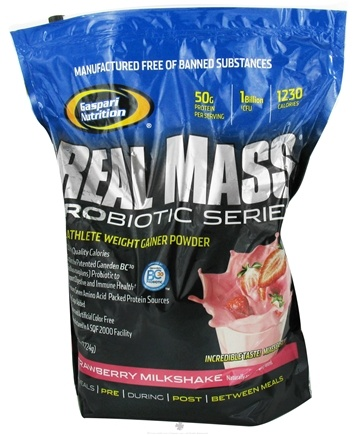 DROPPED: Gaspari Nutrition - Real Mass Probiotic Series Strawberry Milkshake - 6 lbs. CLEARANCE PRICED