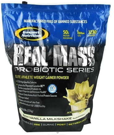 DROPPED: Gaspari Nutrition - Real Mass Probiotic Series Rich Vanilla Milkshake - 6 lbs. CLEARANCE PRICED