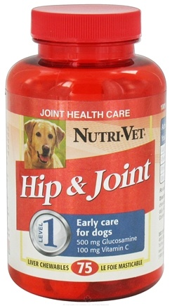 DROPPED: Nutri-Vet - Hip & Joint Level 1 For Dogs Liver - 75 Chewables CLEARANCE PRICED