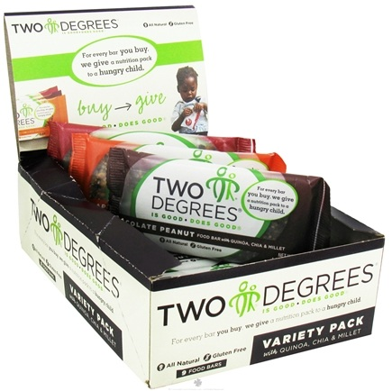 DROPPED: Two Degrees Foods - Nutrition Bar Variety Pack 9 x 1.6 oz. Bars Chocolate Peanut, Apple Pecan and Cherry Almond