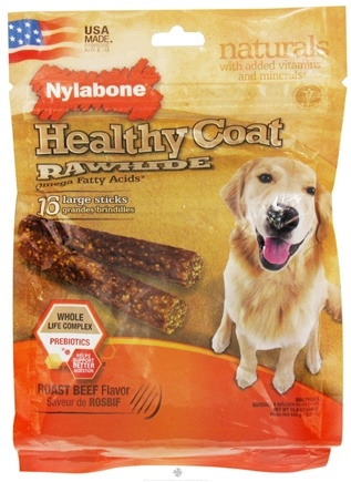 Zoom View - Healthy Coat Rawhide With Omega Fatty Acids Regular Dog Treats