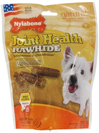 DROPPED: Nylabone - Joint Health Rawhide With Glucosamine & Chondroitin Regular Dog Treats Roast Beef - 12 Stick(s) CLEARANCE PRICED