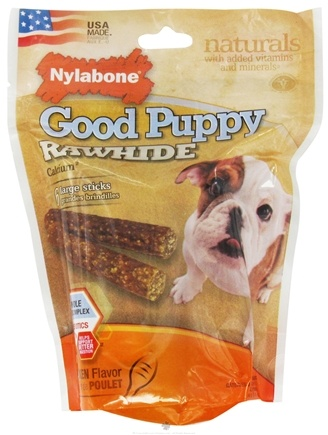 DROPPED: Nylabone - Good Puppy Rawhide With Calcium Large Dog Treats Chicken - 6 Stick(s) CLEARANCE PRICED