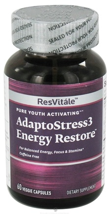 DROPPED: ResVitale - Adapto Stress 3 Energy Restore - 60 Vegetarian Capsules CLEARANCE PRICED
