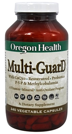 DROPPED: Oregon Health - Multi-GuarD with CoQ10, Resveratrol, Probiotics, P-5-P & Methylcobalamin - 240 Capsules