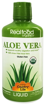 Zoom View - Real Food Organics Liquid Aloe Vera 100% Inner Fillet