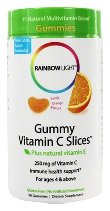 Rainbow Light - Gummy Vitamin C Slices Tangy Tangerine Flavor 250 mg. - 90 Gummies
